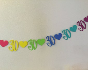 30th birthday garland with hearts, paper garland, Anniversary garland, 30th birthday garland, 30th birthday banner,   10 feet long