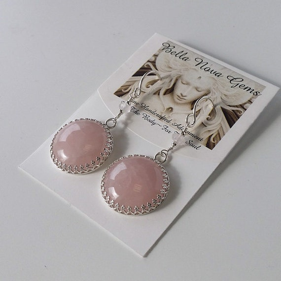 Pastel Rose Quartz Round Sterling Silver Earrings E-0428