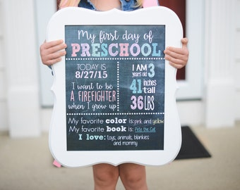 Custom FIRST or LAST day of school sign personalized name and information
