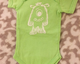 Green Lil' Monster Infant One Piece shirt