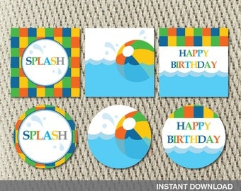 Favor Tags - Stickers - Pool Party - Make a Splash - Beach Ball - Birthday - Instant Download - DIY Digital Decorations