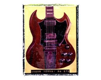 Angus Young ACDC guitar art print / music gift / rock n roll art / music room decor / guitar gift / man cave art