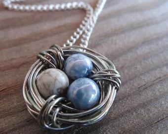 Blue & White Bird's Nest Necklace