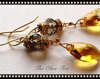 Golden Honey Faceted Teardrop Bohemian Dangle Earrings - Boho Earrings - Zen Earrings - Hippie Earrings - Gypsy Earrings - Meditation