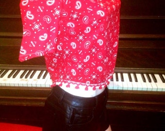 Vintage Red bandana asymmetrical handmade top