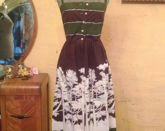 Amazing Tree Pattern Sundress Woodland Bohemian XS