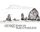 Haystack Rock 8x10 Print, Cannon Beach Print, Illustrated Print, Art Print