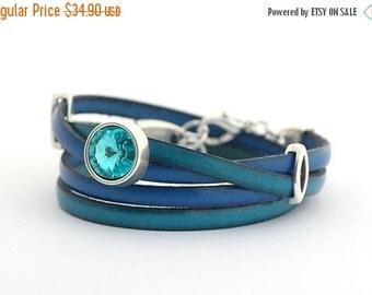 SALE Blue Sapphire Genuine Leather Wrap Bracelet, Turquoise Cobalt Boho Wrap Bracelet, Leather Cuff Women, Bangle Bracelets, double wrap
