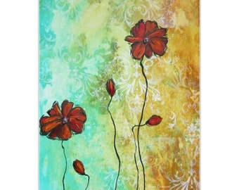 Flower Painting 'Poppy Love' by Megan Duncanson - Abstract Flower Art Modern Red Poppies on Metal or Acrylic