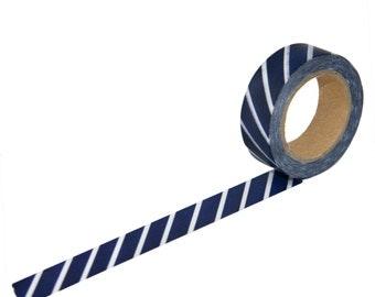 Navy Diagonal Washi Tape, 15mm x 10m, Navy
