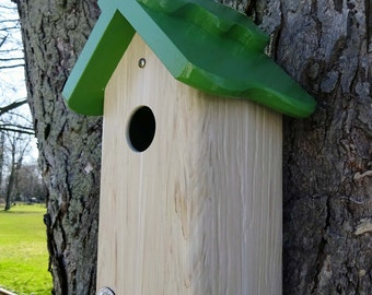 Bluebird house, PVC,cedar wood,outdoor birdhouse,fully functional,virtually maintenance free,post mount,modern,Made in USA