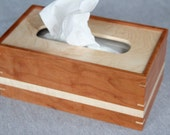 Tissue Box Cover Handmade Out of Cherry and Maple - Free Shipping to USA