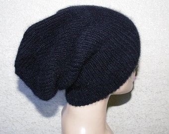 Pure Cashmere Black Ribbed Hand Knit Oversize Slouchy Beanie Hat for Men or Women