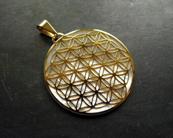 Flower of life, sacred geometry, stainless steel, gold-plated, mother of Pearl
