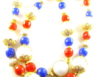 Patriotic Necklace Red White Blue Faceted Plastic Beads Golden Hue Floret Spacer Caps Signed Hong Kong