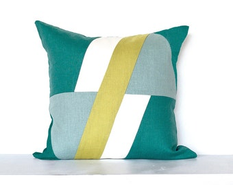 """SALE ITEM - 18""""X18"""" -Geometric """"Element""""  Colorblock Pillow Cover- Teal / Lime Combo"""