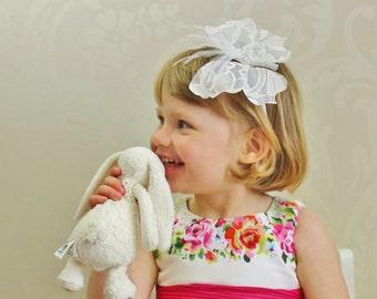 SALE flower girl headband, lace butterfly headband, christening headband, butterfly hair, girls alice band, gilrs headband
