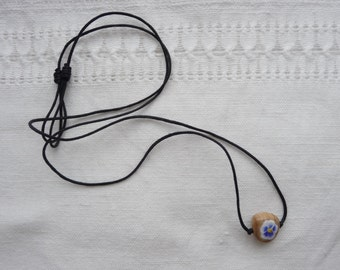 Miniature blue pansy pendant