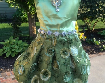 SAMPLE SALE:  Fall Inspired Sage Satin Special Occasion Dog Dress