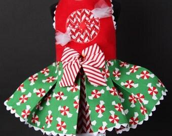 CHRISTMAS:  Peppermint Candy Dog Dress