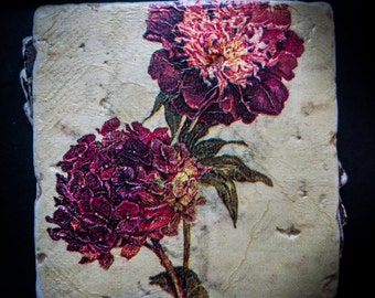 "Flower illustration tumbled tile coasters measuring 4"" x 4"". Set of 4"