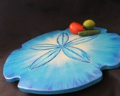 Blue Lazy Susan, Sand Dollar Art, Sand Dollar Centerpiece, Mediterranean Blue Center piece, Kitchen Art, Beach house art, coastal cottage