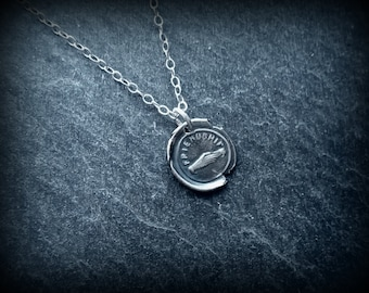 Silver wax seal pendant, Gift of friendship by RECREATE4U