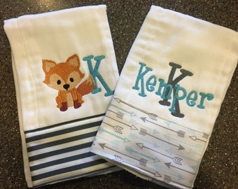 Personalized Monogrammed Custom Burp Cloths