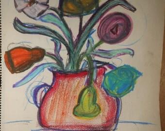 Vintage hard pastel still life flowers in vase