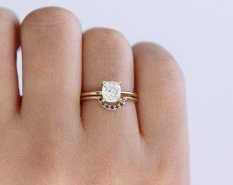 Cushion Diamond Engagement Ring - 0.78 Carat Diamond Ring - 18k Gold