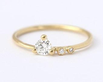 Asymmetric Diamond Engagement Ring - Dainty Engagement Ring - 0.2 Carat Round Diamond - 18k Solid Gold