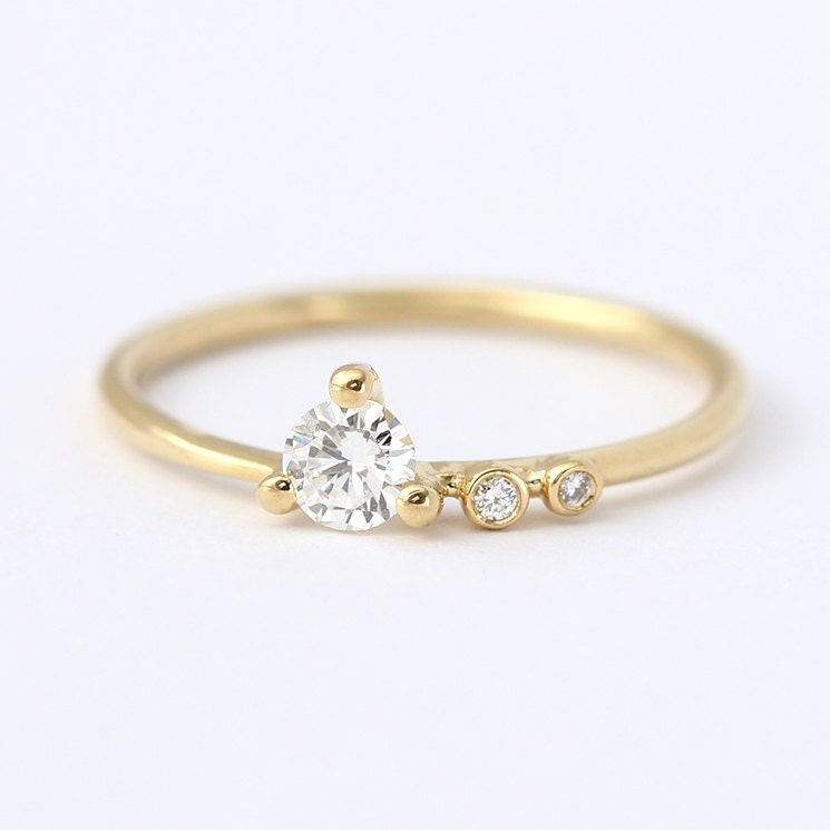 engagement ring asymmetric diamond engagement ring by artemer With asymmetrical wedding rings