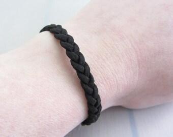 Black Braided Faux Suede Bracelet, 7mm Width Black Bracelet, Adjustable Plain Friendship Bracelet