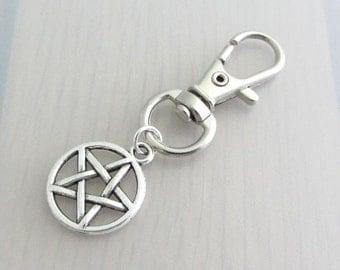 Silver Pentagram Charm Purse Clip, Pentagram Zipper Pull, Wiccan Handbag Charm, Pagan Bag Charm, Supernatural Pentagram Bag Charm