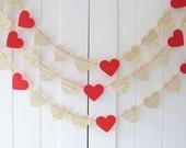 Red Heart Garland - 10 ft Long - Valentine Decor,Red Heart Garland, Valentine Garland, Paper Garland, Wedding Decoration, Bridal shower,