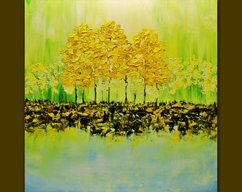 Oil Painting Colorful Blooming Green Trees