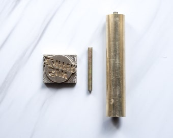 Custom made branding iron leather stamp with brass hammer & leather stamp two way
