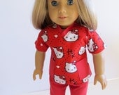 American Girl Doll Clothes, Doll Nurse Outfit, Doll Hello Kitty 2 Piece Scrubs Outfit, American Girl Doll Scrubs, Hello Kitty Nurse Outfit