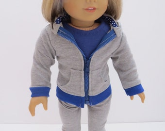 "Made To Fit Like American Girl Doll Clothes; 18"" Doll Hoodie; Doll Hoodie and Leggings; Doll Leggings; Doll Hooded Sweatsuit; Doll Leggings"