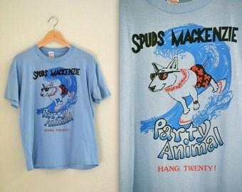 Vintage Spuds Makenzie TShirt Blue Size Small Medium Large Bud Light Beer Surfing dog Shirt English Bull Terrier Vintage tshirt