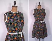 1960s black floral dot day dress • 60s polka dot flower print dress • vintage glad all over dress