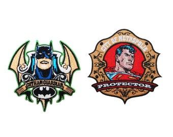 Batman Vs Superman 2-Pack Patch Combo Dark Knight & Man of Steel Badge Iron-Ons