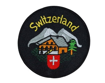 "Swiss Alps Cabin ""Switzerland"" Patch Country Vacation Souvenir Iron-On Applique"