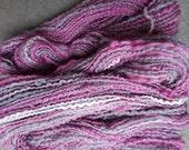 Handspun Yarn: Mini Skein in Purple, Gray and Cream with Sparkle