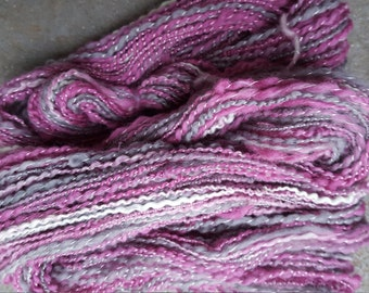 Handspun Yarn: Mini Skein in Purple, Gray and Cream with Sparkle