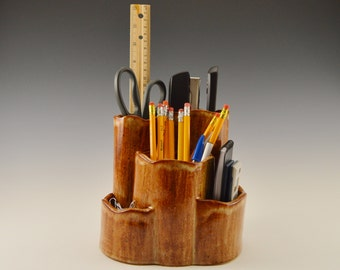 Stoneware desk caddy, ceramic desk organizer, pottery pen and paper holder