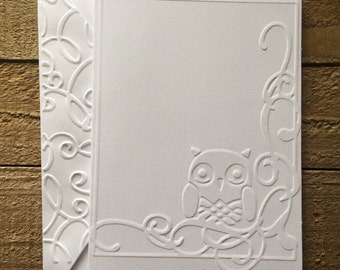 Owl Flourish White Embossed Note Cards, Owl Note Cards, Owl Stationary, Owl Blank Cards, Owl Greeting Cards