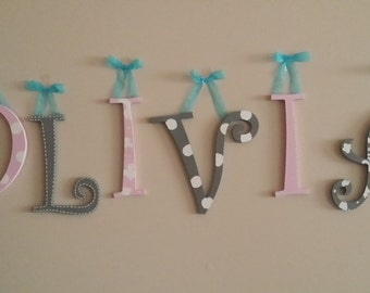 Name hanging, Wall hanging, Decorative Letters, Painted Letters, Hanging Letters, Name Decor