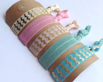 Pastel Hair Tie Set, Ivory and Pink Hair Tie Set, Pink and Blue Hair Ties, Set of 5 Hair Ties