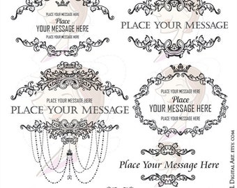 Country French Frames Chandelier Ornate Victorian Vintage Antique Curly Leaf Borders Graphics Oval Horizontal Motif Clip Art 10251